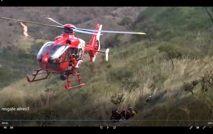 VÍDEO: Resgate aéreo de acidente com trilheiro em Brasília