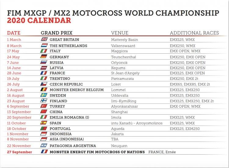 Calendário MXGP 2020